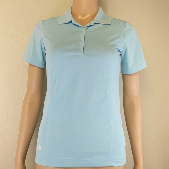 adidas Tops - [Adidas] Golf Baby Blue Button Up Polo Shirt XS